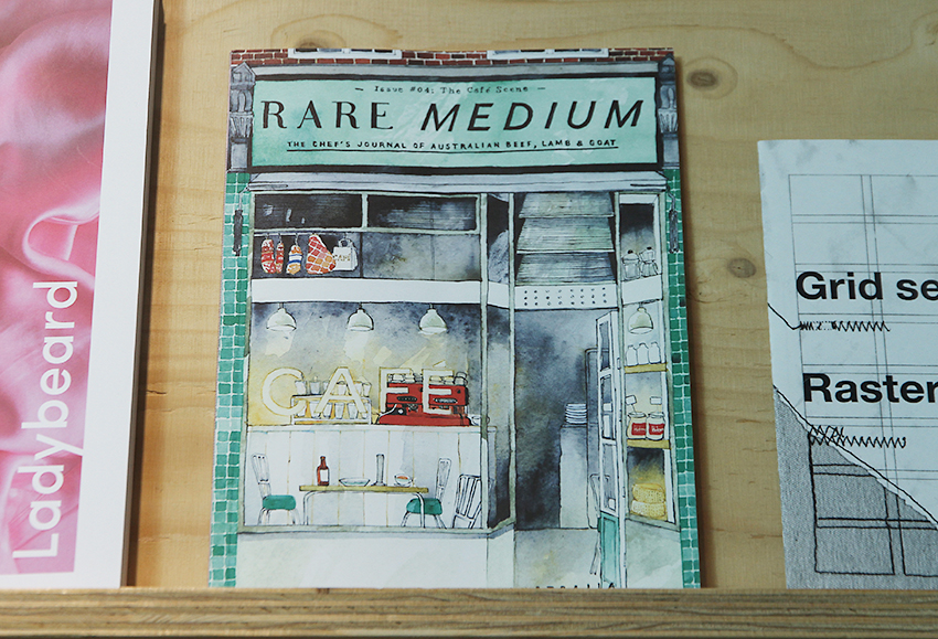 Rare Medium journal, cover illustration by Eleanor Crow (2014) displayed at the A+ exhibition at Central Saint Martins in 2016