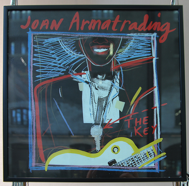 Huntley Muir record cover design for Joan Armatrading (1983) on display in the A+ exhibition at Central Saint Martins in 2016