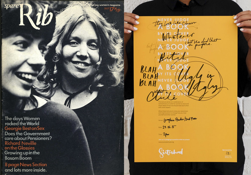 First issue of Spare Rib magazine, 1972; poster by Sisterhood, 2015