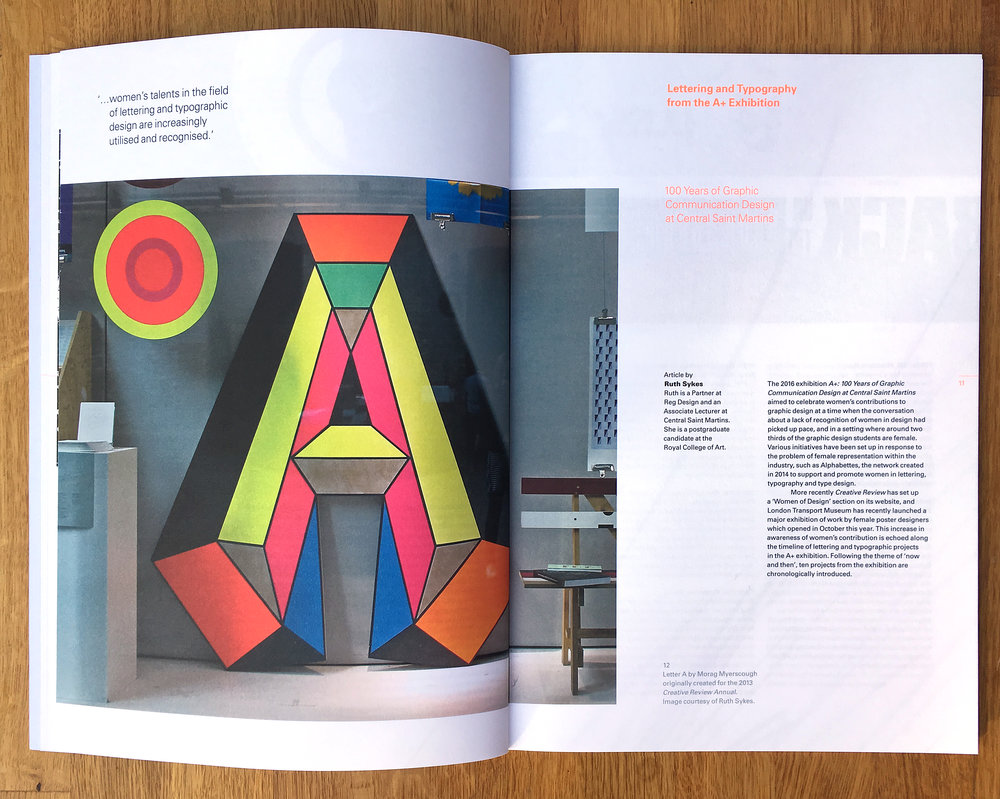 Article on the A+ exhibition in Typographic journal (2017) design by Miriam Brueggen. Image shows giant 'A' designed by Morag Myserscough for the cover of the Creative Review Annual of 2013
