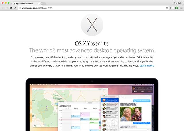 Trang web của Apple với hiệu ứng cuộn parallax theo từng tran
