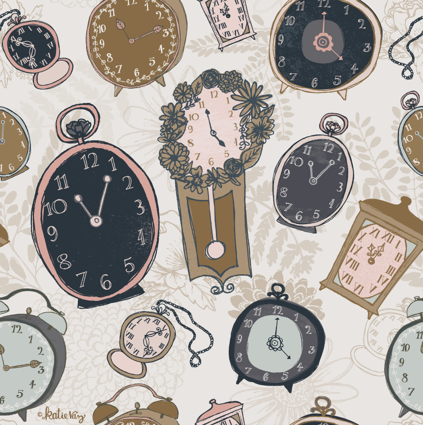 Katie Vaz Illustration | Clock pattern design
