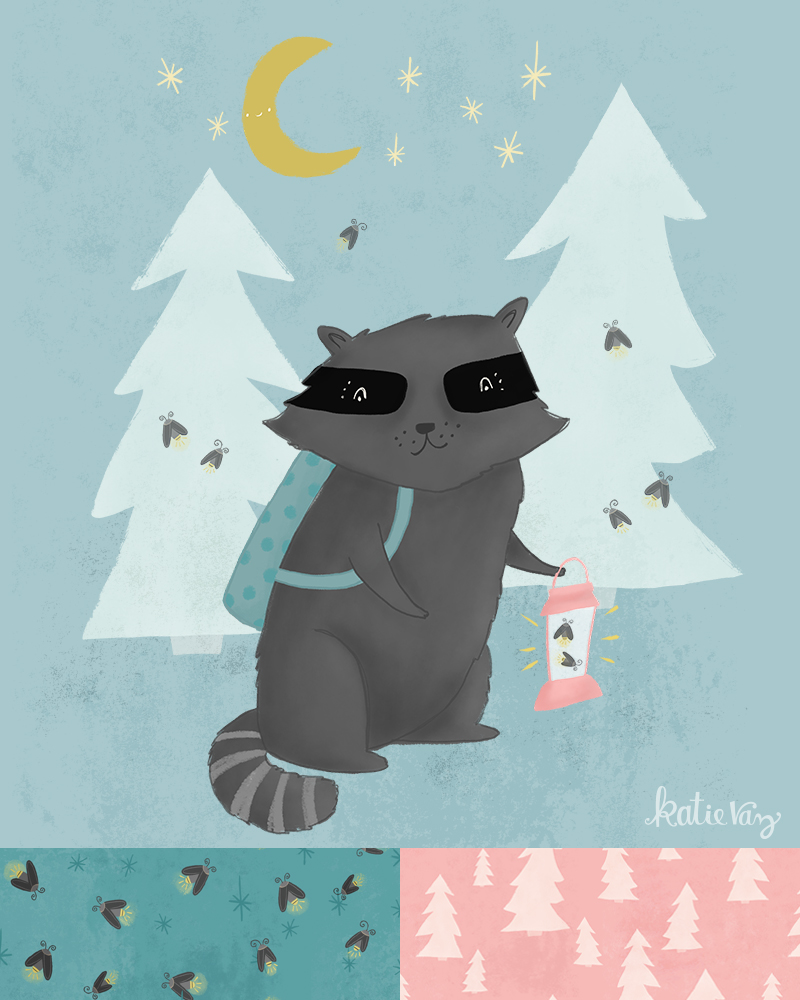 Katie Vaz | raccoon illustration | surface pattern design