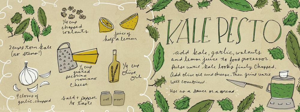 Kale Pesto Illustration | Food Illustration | Editorial Illustration