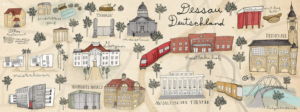 An illustrated map of Dessau, Germany. This is the city I lived in for two years while going to grad school. I remember most the food, the architecture, and the charming surrounding forests.