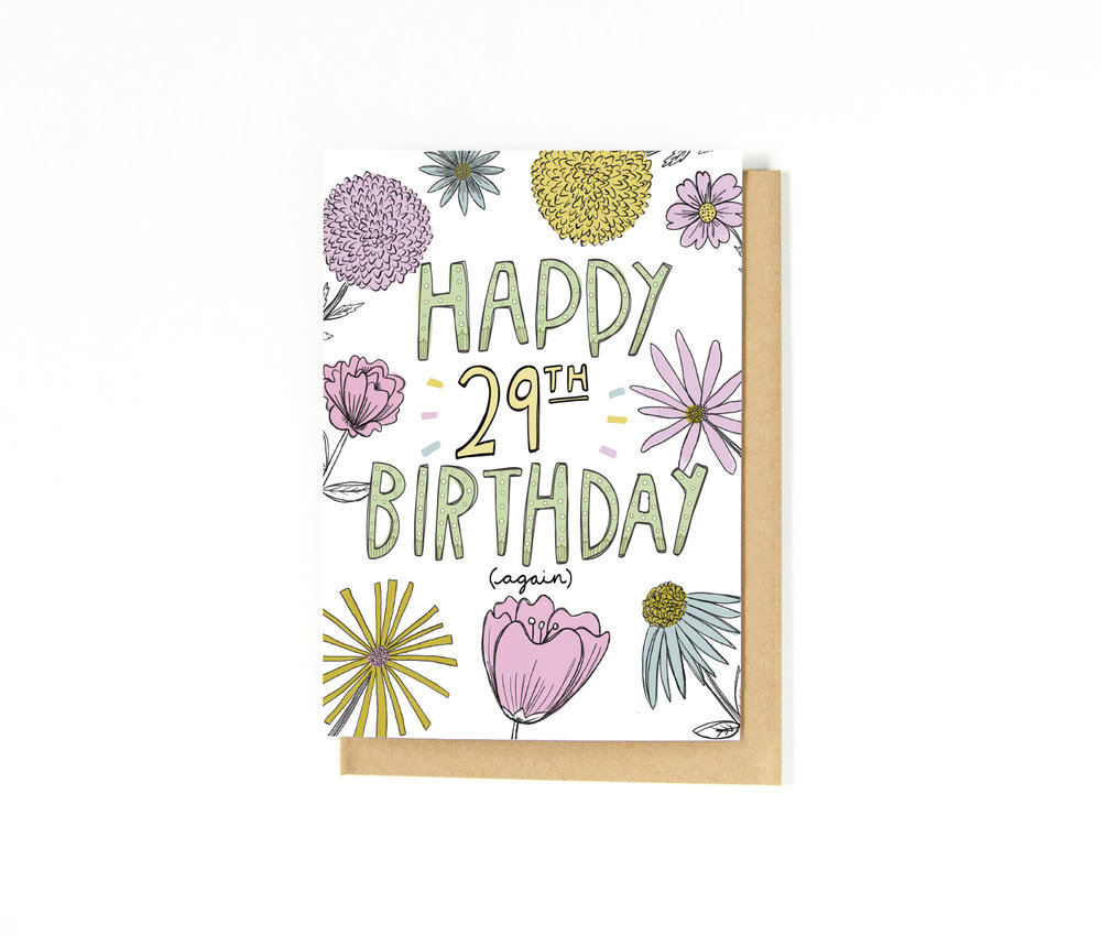 Birthday Card | Stationery | Katie Vaz Illustration | Hand Drawn Lettering