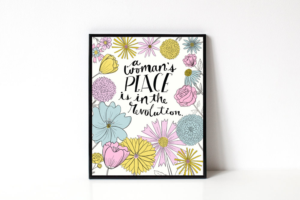 Hand-lettering and Illustration | Feminist Art Print | Katie Vaz Design