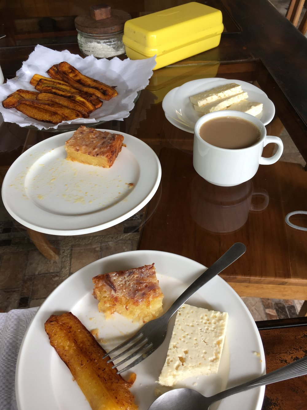 Yuca cakes, fried plantains, and farmer's cheese