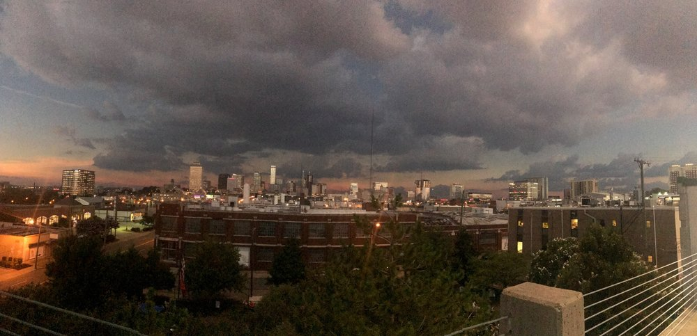 The Nashville landscape during the Total Eclipse from the NOI office.