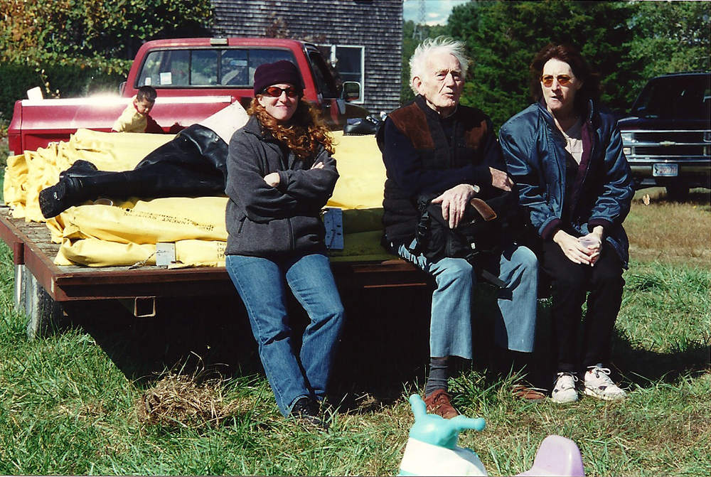 Fall, 2000 | Ricky with Alice and Carol | Ricky, Alice and Carol find a comfortable seat on a flatbed.