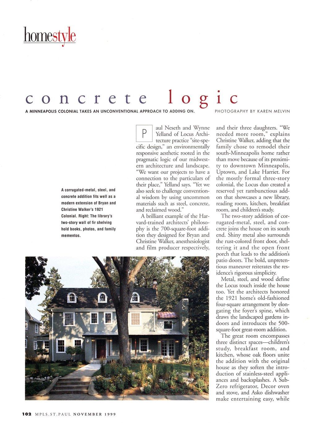 Minneapolis St Paul Magazine, Modern Addition, Nov 1999