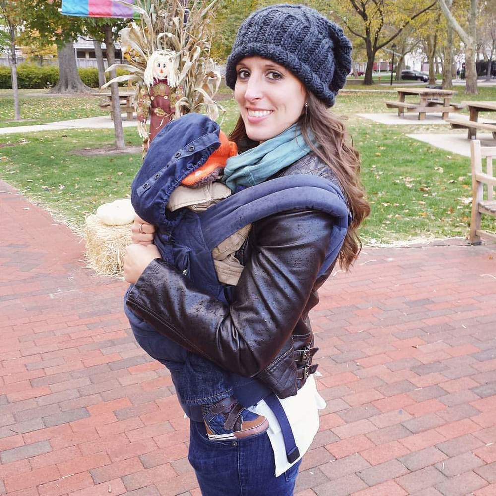 Megan, Allie's Sister, Babywearing one of the twins on a family trip to Philadelphia