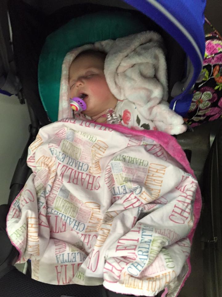 Sleeping in her Stroller on a train ride from Venice to Florence