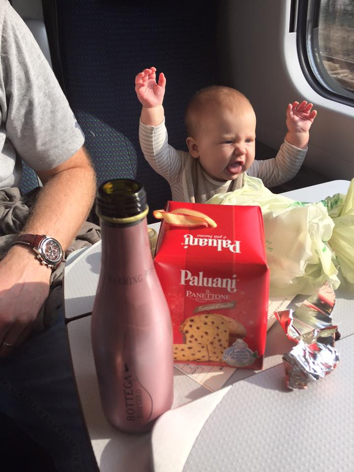 Practicing her Italian on a train from Austria to Italy