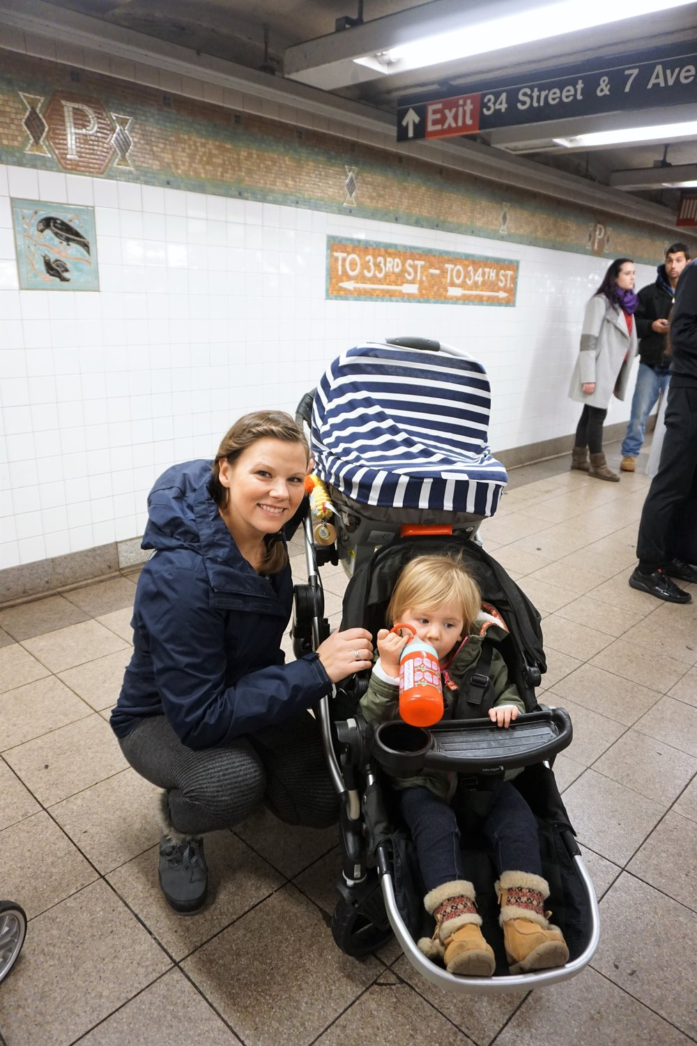 My two baby nomads and me in the NYC SUbway -- ANd my gigantic stroller