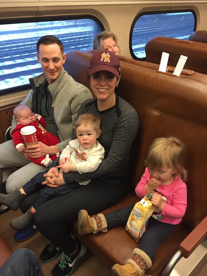 My Friends with all three babies on the NJ Transit headed to NYC