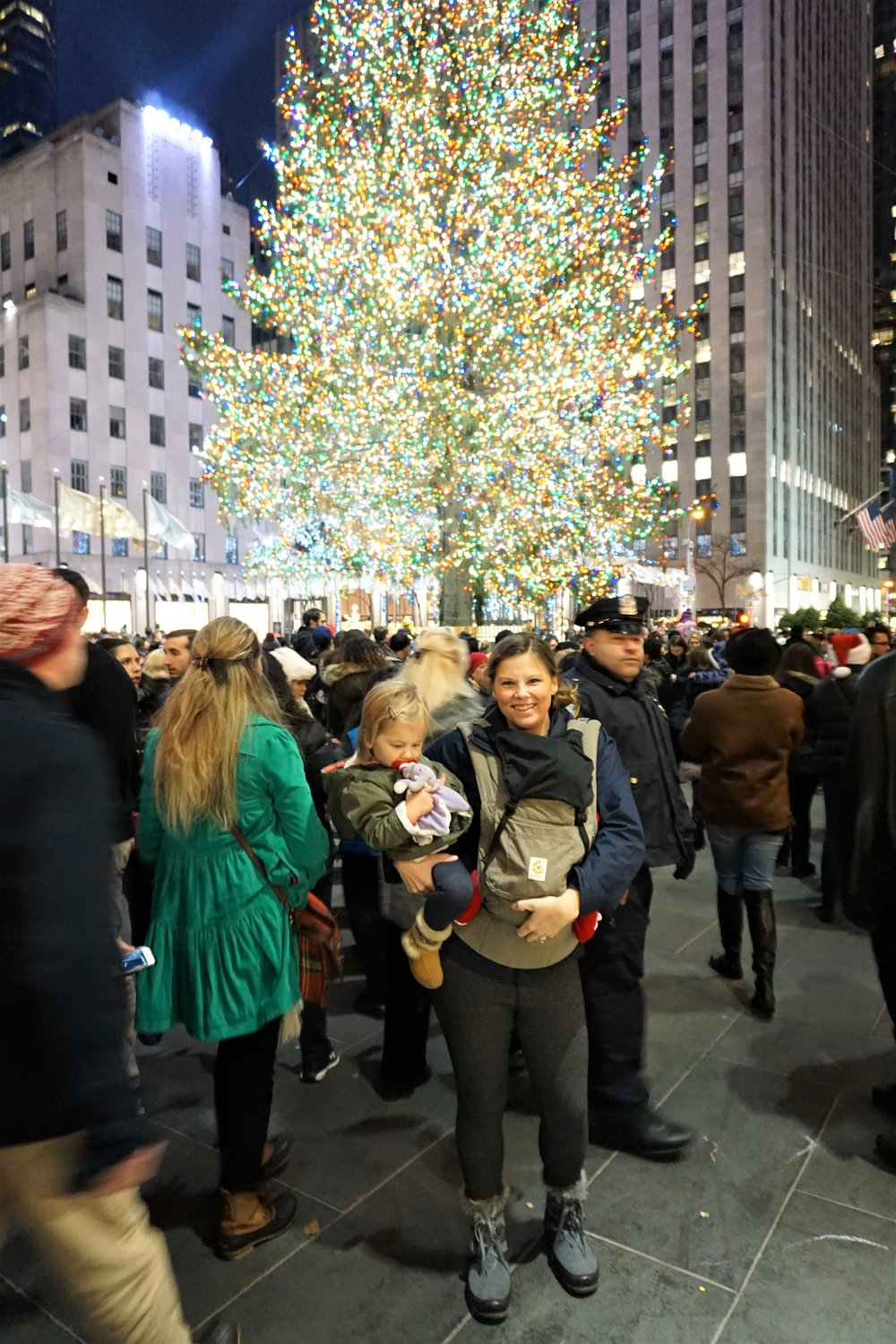 Me + my two baby nomadswith the Christmas Tree in Rockefeller Plaza