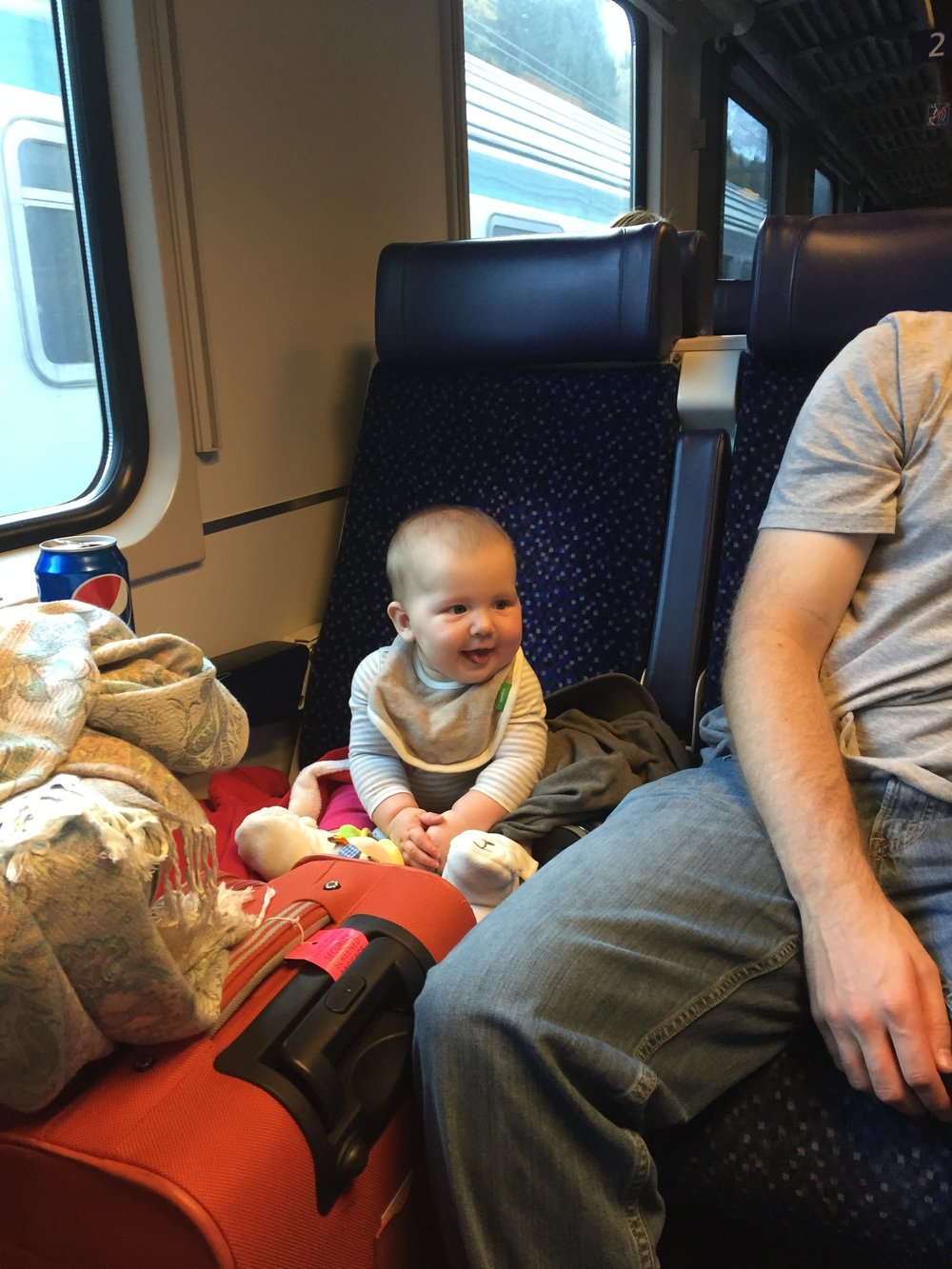 Our daughter and our lugage on a 5 hour train ride from Insbruck, Austria to Venice, Italy in 2015