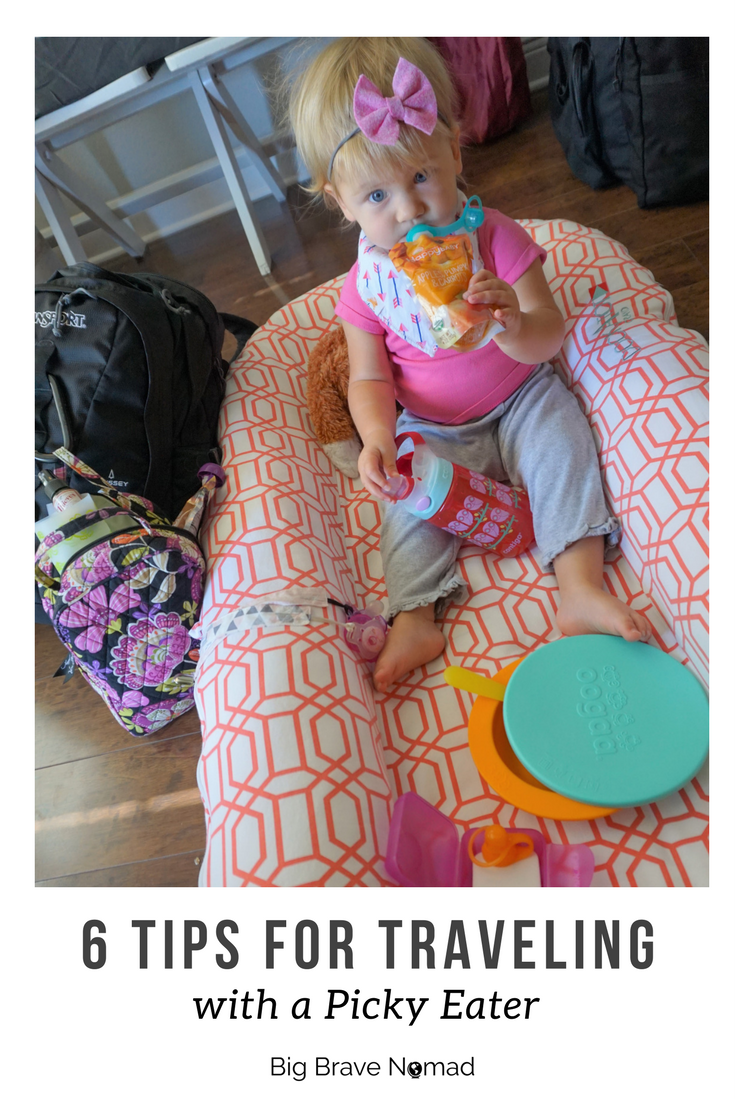 picky eating is something almost all children go through.  Don't be afraid to travel, instead use these tips to help you conquer meal time when you are traveling with toddlers.  6 Tips for traveling with a picky eater #bigbravenomad #familytravel#pickyeater #toddlertravel travel with kids, travel with baby, travel with toddler, travel tips, family travel tips