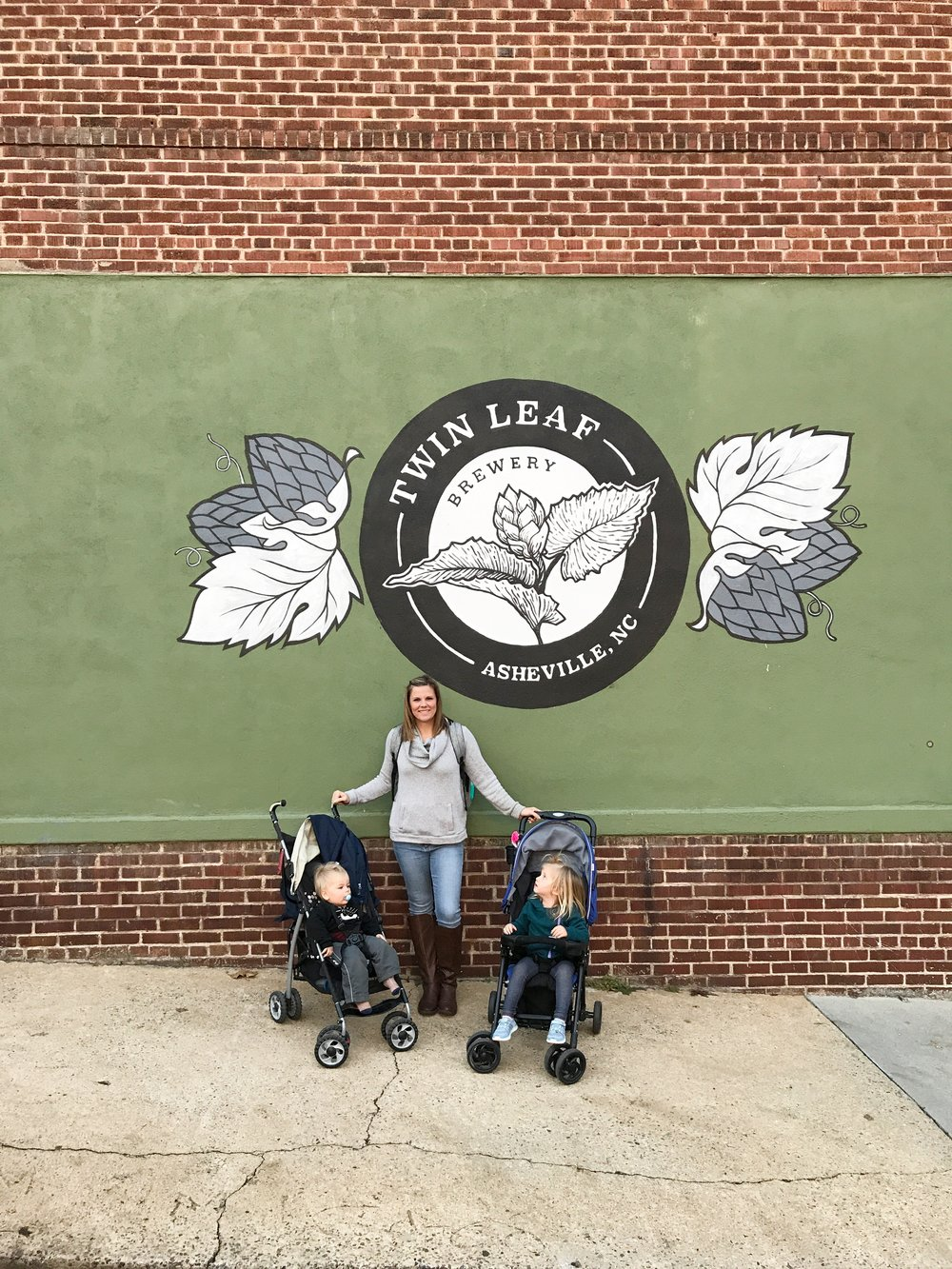 The kids and I outside Twin Leaf Brewery