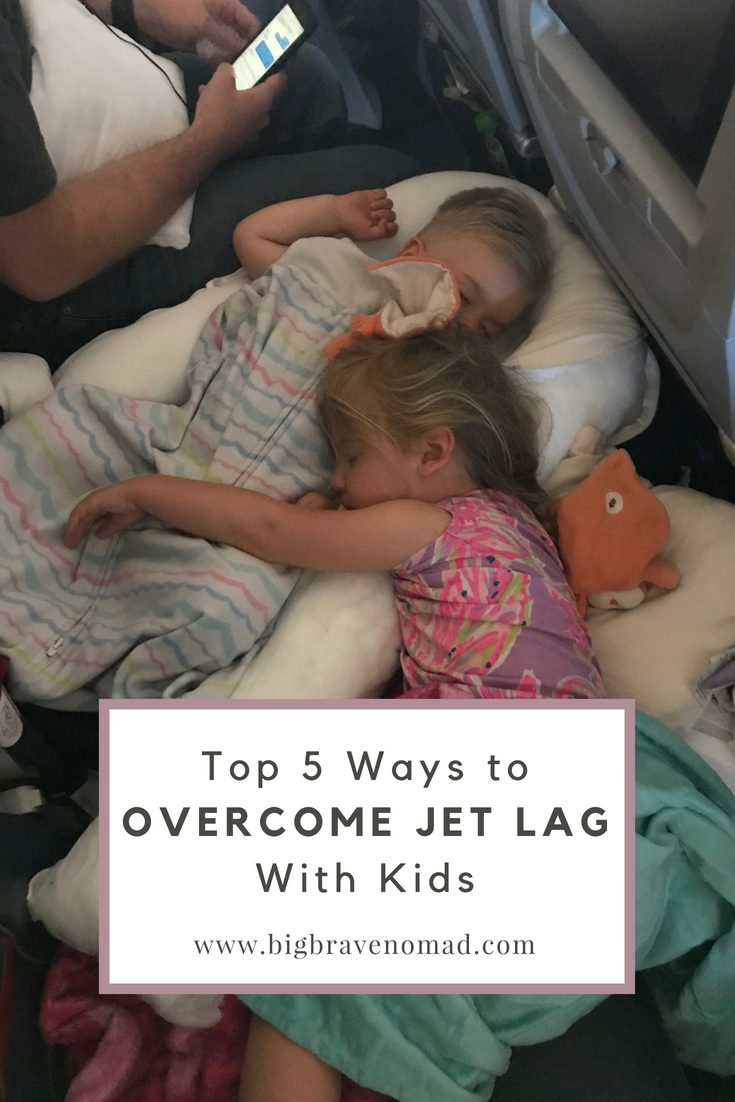 Jet Lag can be the hardest part of traveling over time zones with children.  These 5 tips will help your family adjust easier and make the most of those first days adventuring. overcome jetlag, don't fight it.  #bigbravenomad #familytravel #jetlag #travelwithkids