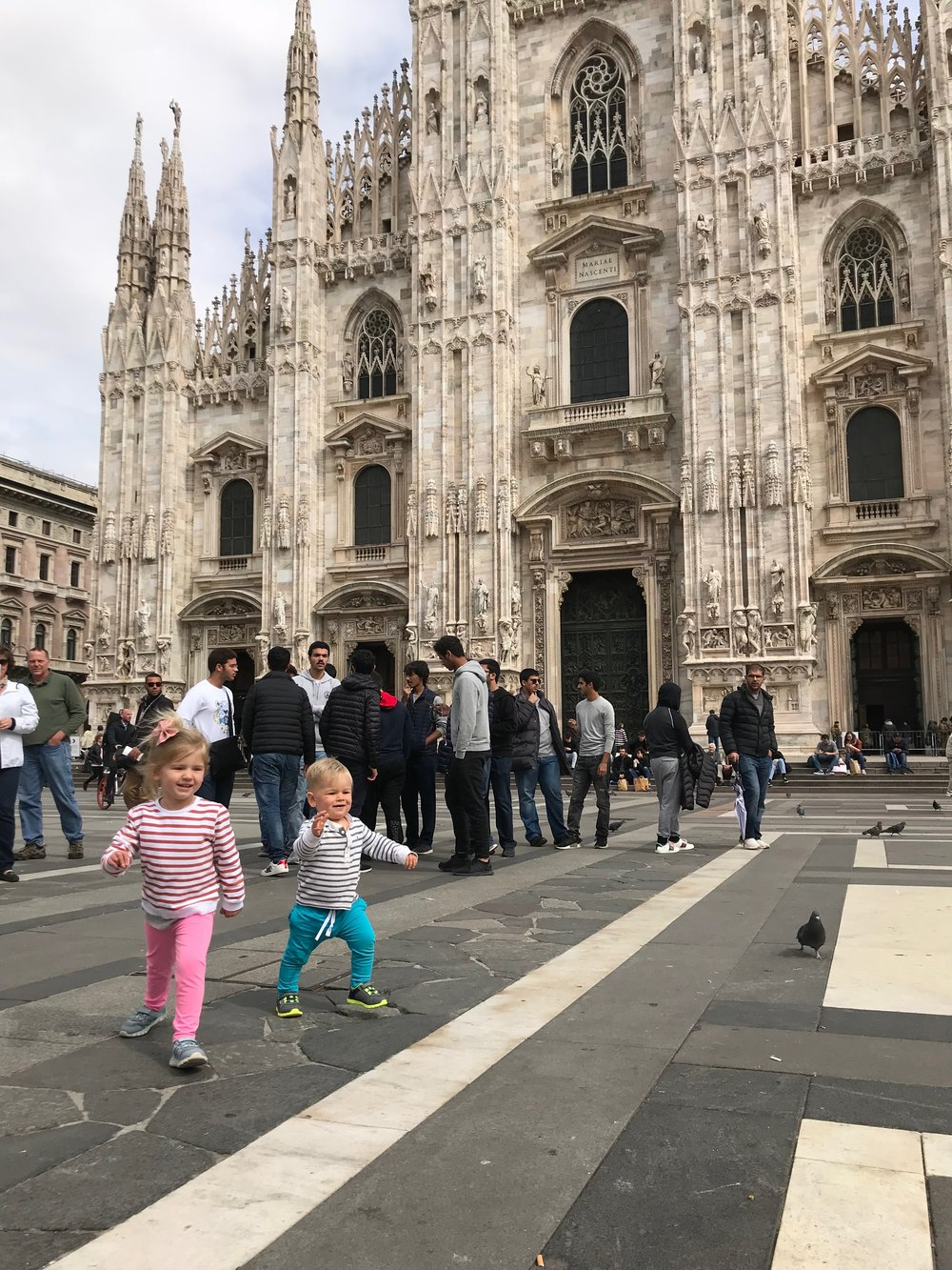 Both kids running wild at the duomo in Milan the very first morning.  We weren't out of the apartment until around 9:30 after everyone slept in and took their time getting ready. this was the easiest jet lag tranistion we've ever had.
