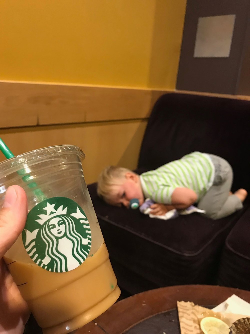 Mama got a coffee and our boy was trying to recover