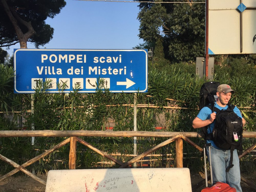 We took a train from Naples to Sorrento & stopped for several hours at Pompeii along the way-- they stored our bags for us in the station
