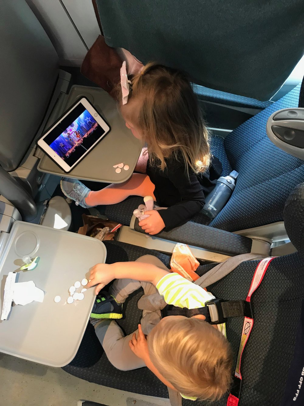 We were able to pick our travel time from Bellinzona to  Zurich Switzerland  AND the kids each got their own seat. There were no  seatbelts , so we improvised with our CARES harness