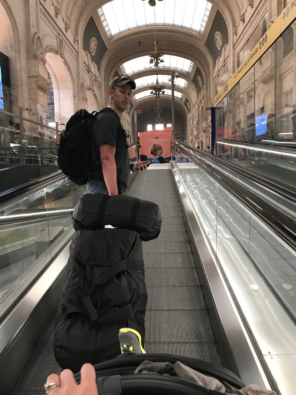 We managed to bring only what you see for 21 days in Europe; lucky us - it was way less to manage! (And FREE on our train rides)