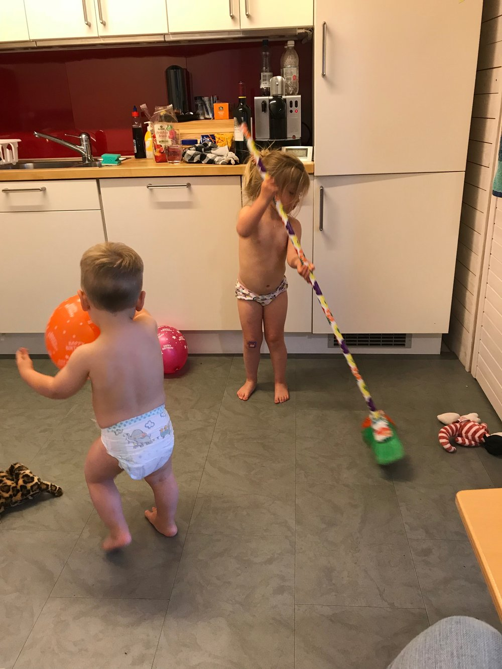 Kids are expensive, so put them to work!  Just kidding!  But diapers are very expensive in Switzerland., so plan ahead!  (The kids are cleaning our airbnb in Bern here)
