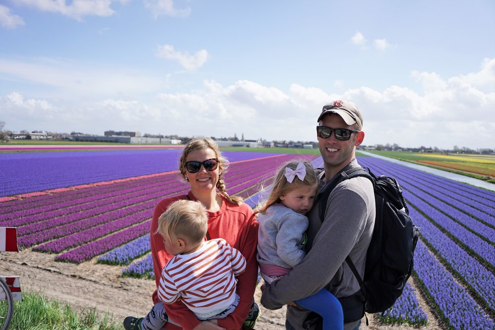 Even in the Tulip Fields in Holland, we keep our kids & valuables close!