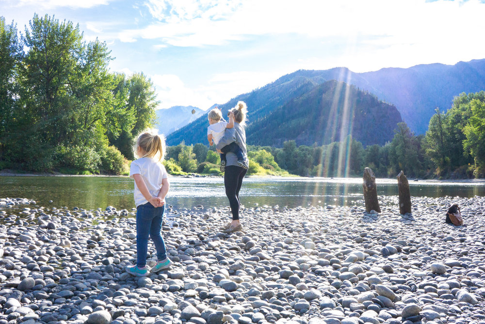 Throwing rocks along the Wenatchee river in Leavenworth