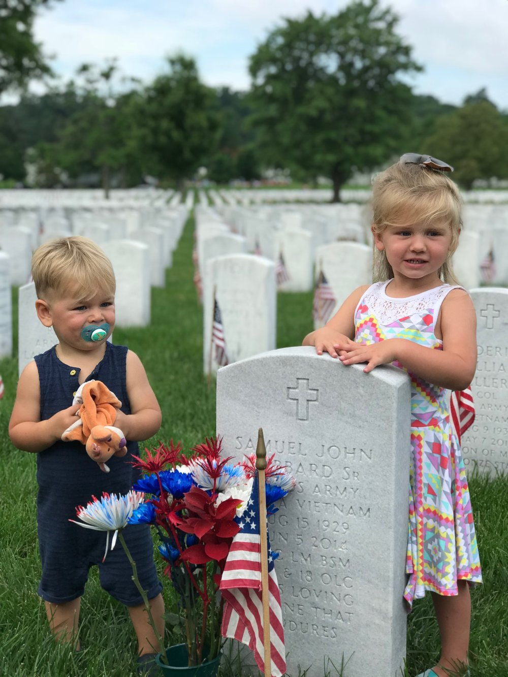 The Kids in Arlington National Cemetary May 2018 - this is their Great Grandfather's Grave