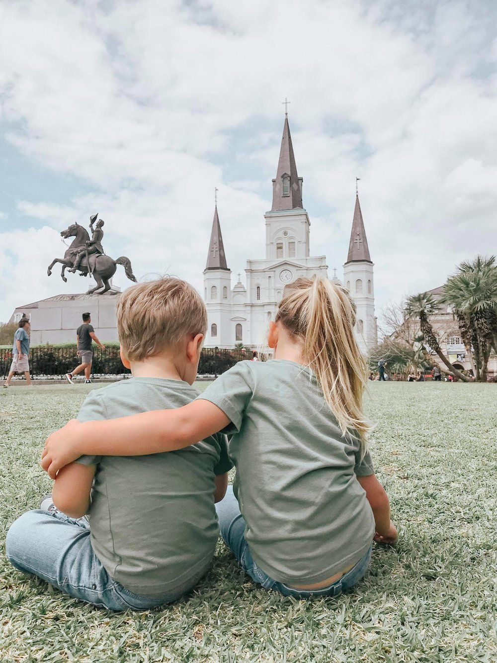 The kids on the lawn in Jackson Square