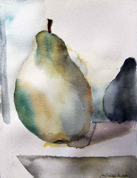 GREEN PEAR- watercolor- 9 x 6- 2011