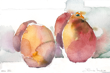 TWO BLOOD ORANGES-watercolor- 6 x 9- 2011