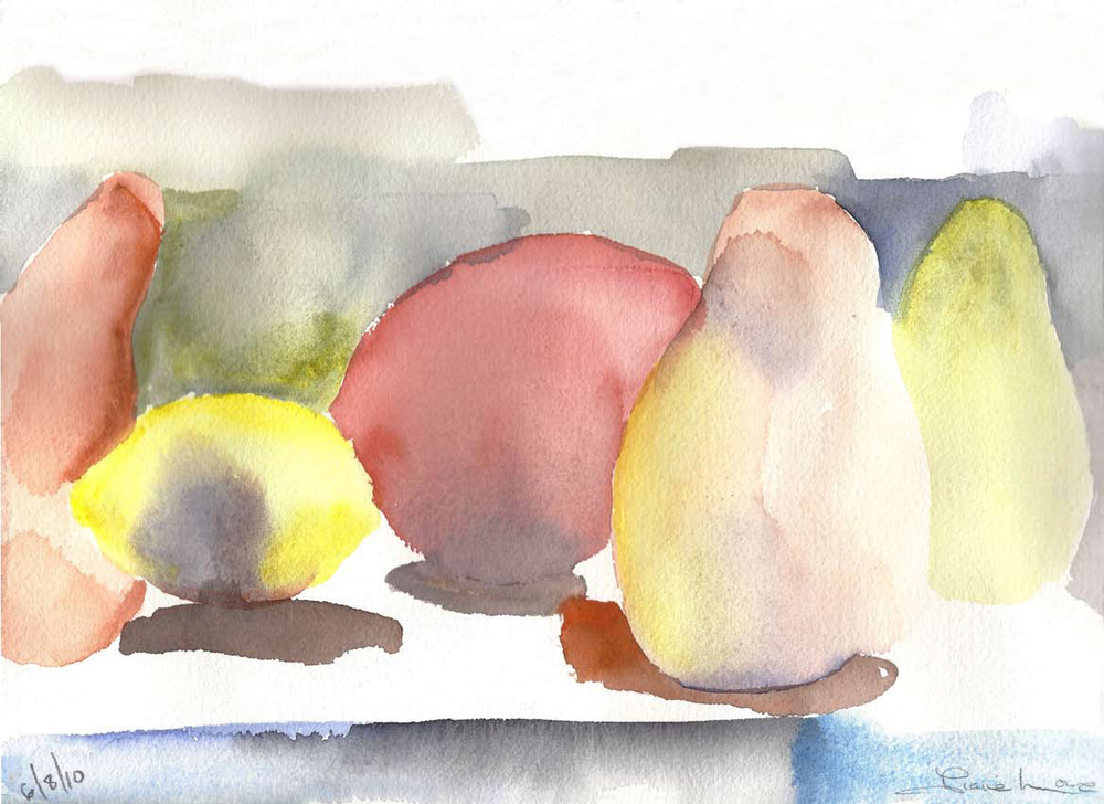 LEMON AND PEARS- watercolor- 6 x 9- 2011