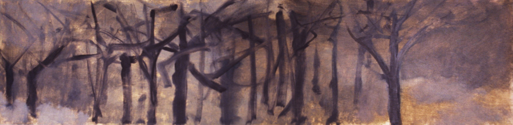 WET WOODS- oil on panel- 12 x 48- 1990