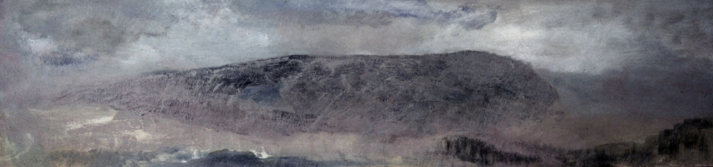 SLEEPING BUFFALO- oil on panel- 12 x 48- 1990