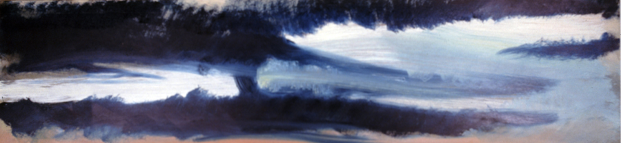 CLOUD LIFE- oil on panel- 12 x 48- 1990