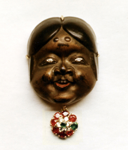 #79 LACQUER OKAME NETSUKE diamonds, rubies, emeralds .jpg