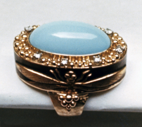 #65 DRAGONFLY JAPANESE FUCHI RING cab turquoise, diamonds  copy.jpg