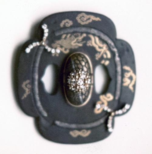 #126 JAPANESE TSUBA _ KASHIRA PENDANT diamonds .jpg