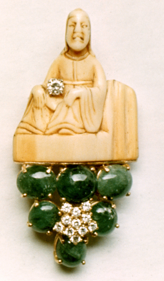 #112 IVORY NETSUKE_  emeralds, diamonds .jpg