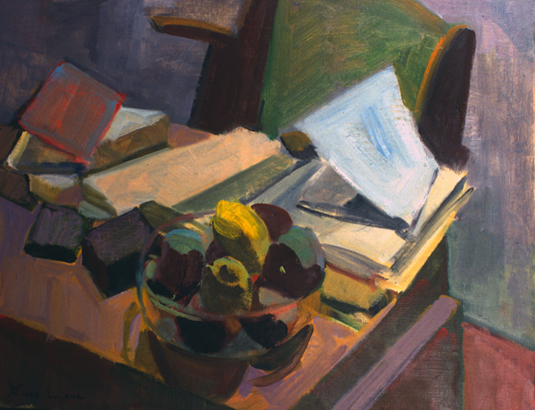 DESK FRUIT- oil on canvas- 20 x 26- 1993