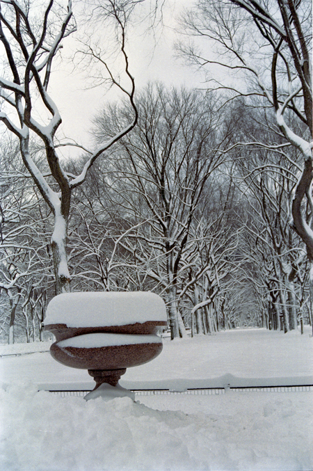 CENTRAL PARK URN IN SNOW- 2011
