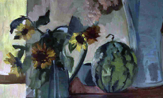 FLOWER AND MELON- oil on canvas- 14 x 30 - 1991