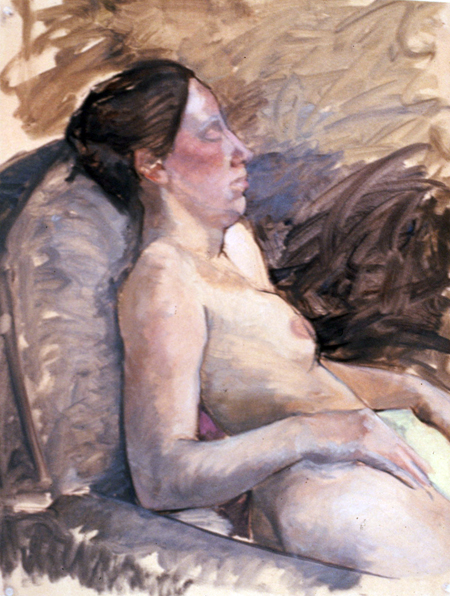 IN RELAXATION- 25 x 19 - oil on paper- 1987