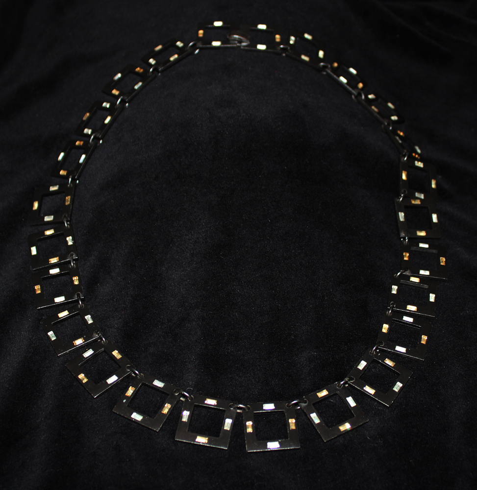 SQUARE LINK NECKLACE BLACK-1971